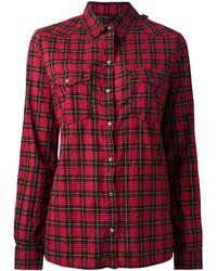 Chemise de ville à carreaux rouge