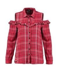 Chemise de ville à carreaux rouge Jennyfer