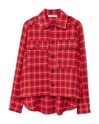 Chemise de ville à carreaux rouge Mango