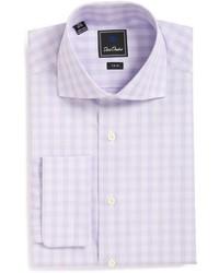 Chemise de ville à carreaux violet clair
