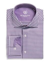 Chemise de ville à carreaux violette