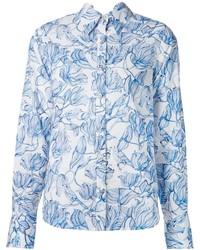 Chemise de ville à fleurs blanc et bleu Creatures of the Wind