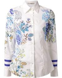 Chemise de ville à fleurs blanc et bleu Etro