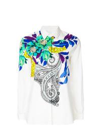 Chemise de ville à fleurs blanche Etro