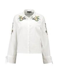 Chemise de ville à fleurs blanche Even&Odd