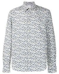 Chemise de ville à fleurs blanche Paul Smith
