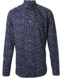Chemise de ville à fleurs bleu marine