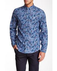 Chemise de ville à fleurs bleue