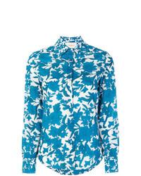 Chemise de ville à fleurs bleue La Doublej