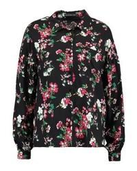 Chemise de ville à fleurs noire Even&Odd
