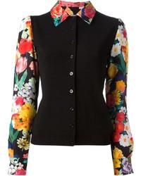 Chemise de ville à fleurs noire Moschino