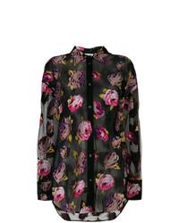 Chemise de ville à fleurs noire MSGM