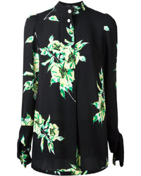 Chemise de ville à fleurs noire Proenza Schouler