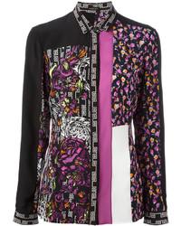 Chemise de ville à fleurs noire Versace