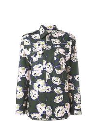Chemise de ville à fleurs vert foncé Marni