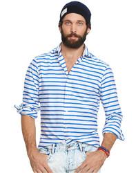 Chemise de ville à rayures horizontales blanc et bleu