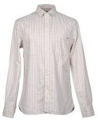 Chemise de ville à rayures verticales beige