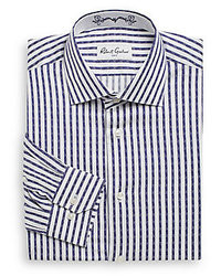 Chemise de ville à rayures verticales blanc et bleu marine
