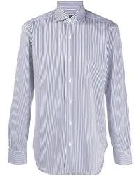 Chemise de ville à rayures verticales blanc et bleu marine Barba