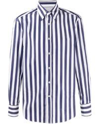 Chemise de ville à rayures verticales blanc et bleu marine Brunello Cucinelli