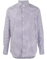 Chemise de ville à rayures verticales blanc et bleu marine Canali
