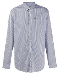 Chemise de ville à rayures verticales blanc et bleu marine DSQUARED2