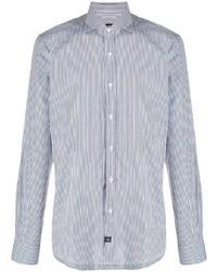 Chemise de ville à rayures verticales blanc et bleu marine Fay