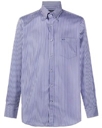 Chemise de ville à rayures verticales blanc et bleu marine Paul & Shark