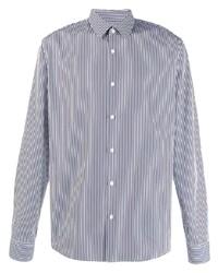 Chemise de ville à rayures verticales blanc et bleu marine Sandro Paris