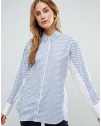 Chemise de ville à rayures verticales blanc et bleu Asos