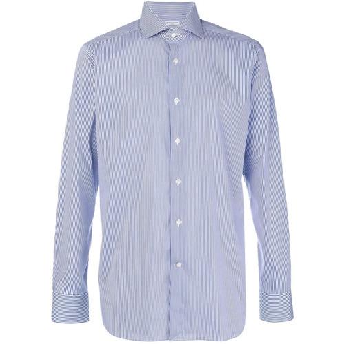 Chemise de ville à rayures verticales blanc et bleu Bagutta