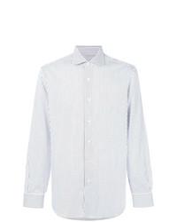 Chemise de ville à rayures verticales blanc et bleu Barba