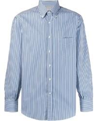 Chemise de ville à rayures verticales blanc et bleu Brunello Cucinelli