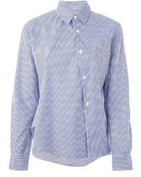 Chemise de ville à rayures verticales blanc et bleu Comme Des Garcons Comme Des Garcons