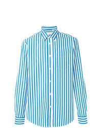 Chemise de ville à rayures verticales blanc et bleu Department 5