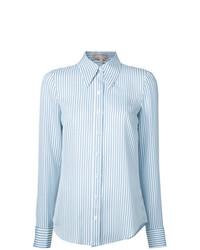 Chemise de ville à rayures verticales blanc et bleu Michael Kors Collection