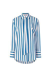 Chemise de ville à rayures verticales blanc et bleu MSGM