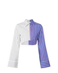 Chemise de ville à rayures verticales blanc et bleu Off-White