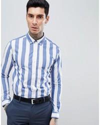 Chemise de ville à rayures verticales blanc et bleu Process Black