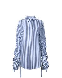 Chemise de ville à rayures verticales blanc et bleu Strateas Carlucci