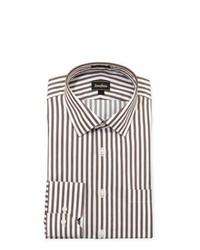 Chemise de ville à rayures verticales blanc et marron