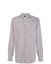 Chemise de ville à rayures verticales blanc et marron Barba
