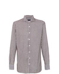 Chemise de ville à rayures verticales blanc et marron Lardini
