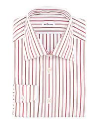 Chemise de ville à rayures verticales blanc et rouge