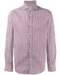 Chemise de ville à rayures verticales blanc et rouge Brunello Cucinelli