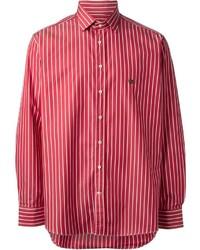 Chemise de ville à rayures verticales blanc et rouge Etro