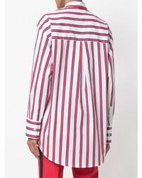 Chemise de ville à rayures verticales blanc et rouge MSGM