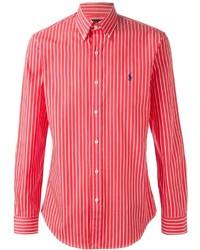 Chemise de ville à rayures verticales blanc et rouge Polo Ralph Lauren