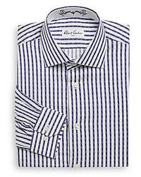 Chemise de ville à rayures verticales blanche et bleue marine