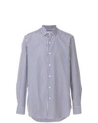 Associer une chemise de ville blanche et bleue marine avec un blazer bleu  marine est une option judicieux pour une journée au bureau. b1a5ffb6c4eb